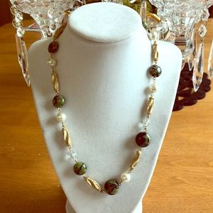 Jewelry - Gold-tone, Pearl and Green Bead Necklace